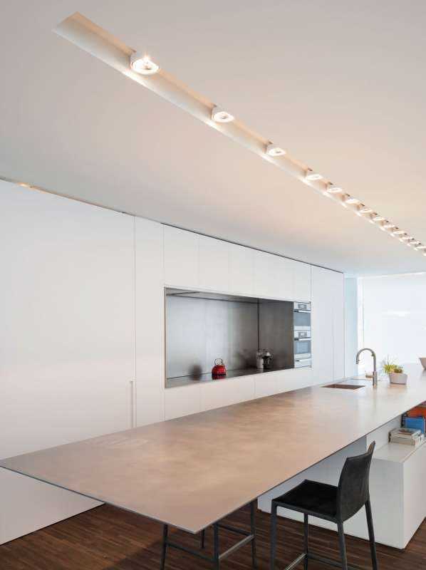 Recessed spotlights in a kitchen
