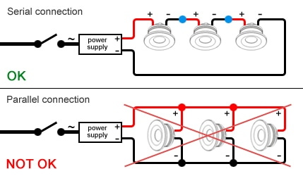 current controlled led spots series circuit